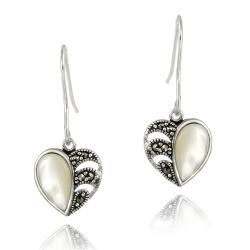 Glitzy Rocks Silver Marcasite and Mother of Pearl Heart Dangle Earrings