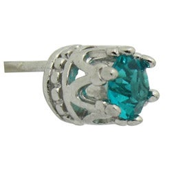 Sterling Silver Turquoise Cubic Zirconia Stud Earrings