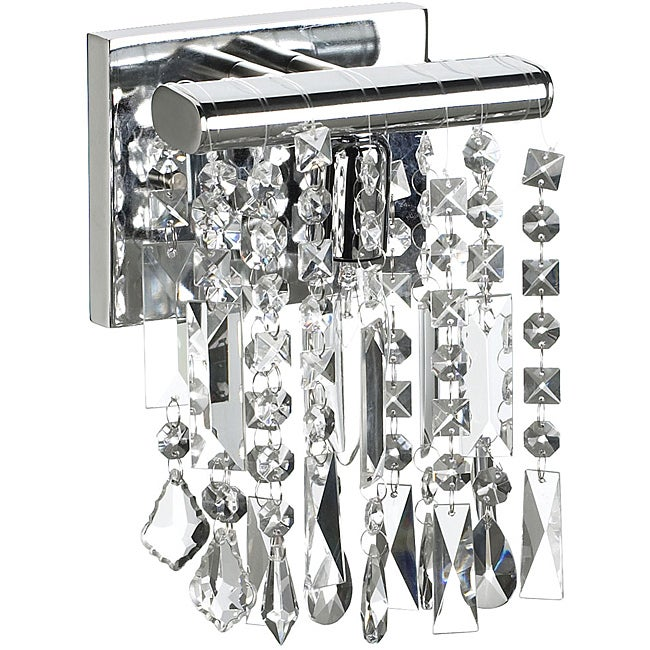 1 Light Chrome Crystal Wall Sconce 6""