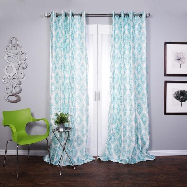 Zarya Grommet Flocked Curtain Panel 84 in