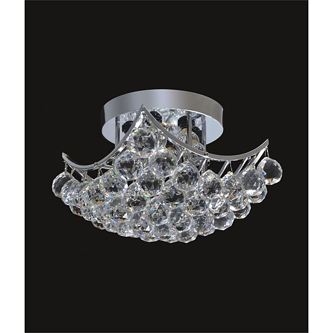 Chrome or Gold 6-light Crystal Ball Flush Mount Chandelier