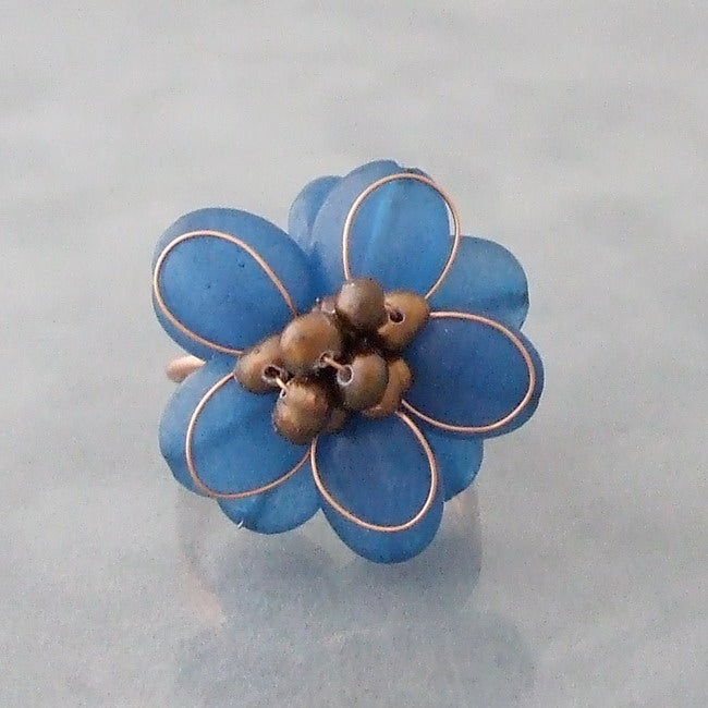 Copper Chalcedony and Pearl Flower Ring (3-7 mm)(Thailand)