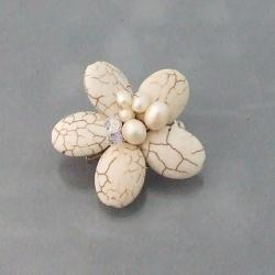 Stainless Steel White Turquoise and Pearl Floral Serenity Brooch (5-7mm)(Thailand)