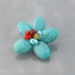 Steel Turquoise and Pearl Floral Serenity Brooch (5-7mm)(Thailand)