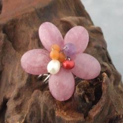 Silvertone Pearl, Agate and Carnelian Flower Ring (5-7 mm)(Thailand)