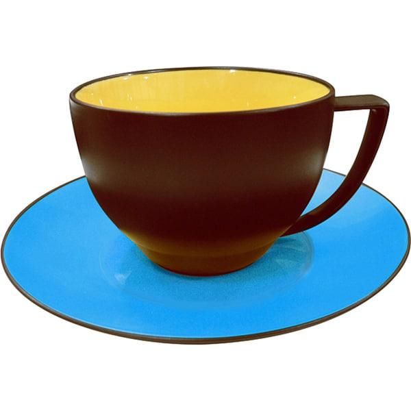 Waechtersbach Duo Curry & Azur Coffee Cups & Saucers (Set of 4)