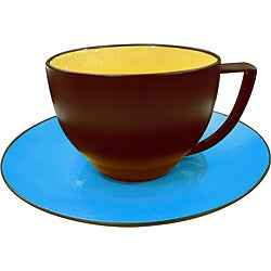 Waechtersbach Duo Curry & Azur Coffee Cups & Saucers (Set of 4)