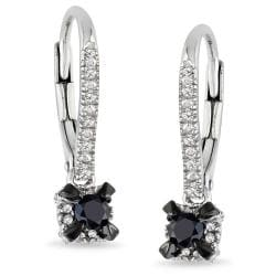 Miadora Sterling Sliver 1/3 CT TDW Black and White Diamond Earrings (G-H, I3)