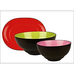 Waechtersbach Duo Hostess 3-piece Serving Bowls & Platter Set