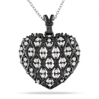 M by Miadora Sterling Silver 1 CT TDW Diamond Heart Pendant With Chain (H-I, I3)