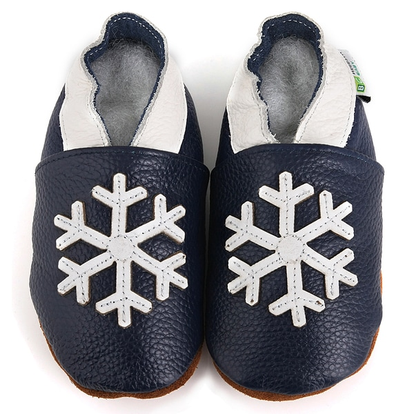 Snowflake Soft-Sole Blue Leather Baby Shoes