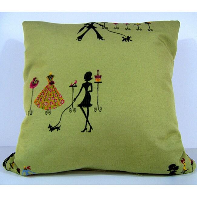 Shopaholic Sage Decorative Pillow
