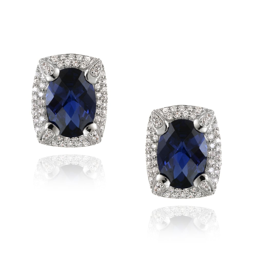 Glitzy Rocks Rhodium-plated Lab-created Sapphire and CZ Accent Earrings (7.6ct TGW)