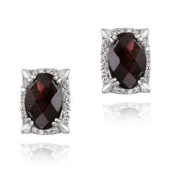 Glitzy Rocks Rhodium-plated Garnet and Cubic Zirconia Earrings (7.5ct TGW)