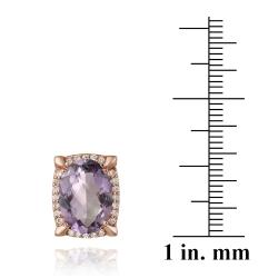 Glitzy Rocks Rose Goldplated Amethyst and Cubic Zirconia Earrings (6.2ct TGW)