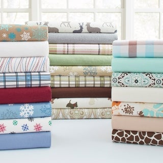 Solid and Print Heavyweight 100-percent Cotton Flannel Sheet Set