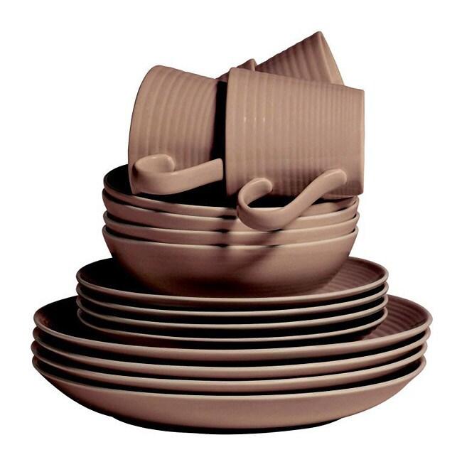 Gordon Ramsay by Royal Doulton Maze Taupe 16-piece Dinnerware Set