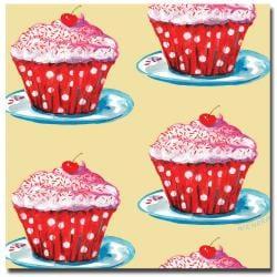 Wendra, 'Cherry Cupcakes' Canvas Art