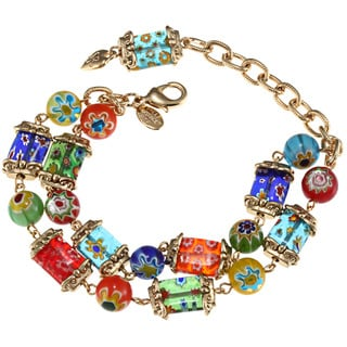 Sweet Romance Goldtone Millefiori Candy Squares Bracelet