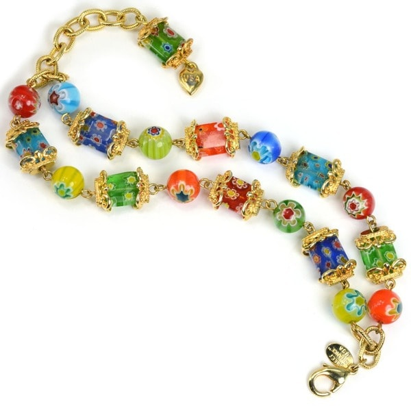 Sweet Romance Retro Gold Millefiori Glass Rainbow Bead Link Bracelet