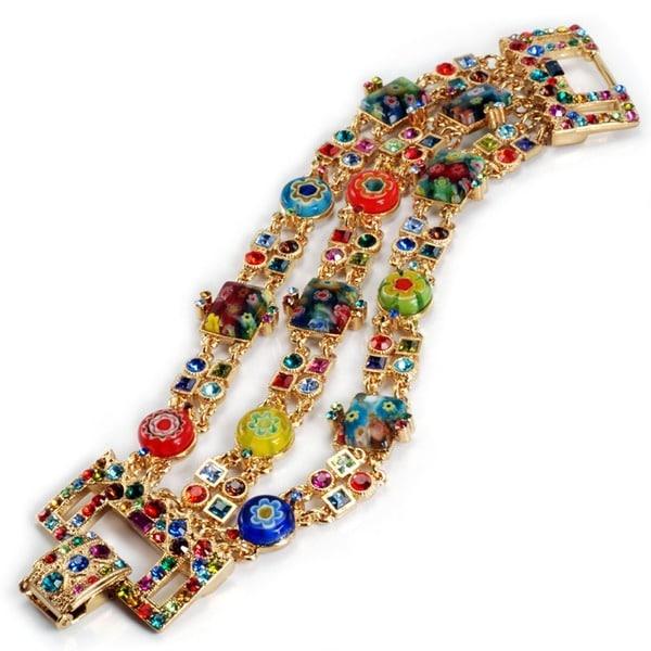 Sweet Romance Gold Millefiori Rainbow Crystal Deco Statement Bracelet