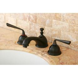 Oil-Rubbed-Bronze Double-Handle Widespread Bathroom Faucet