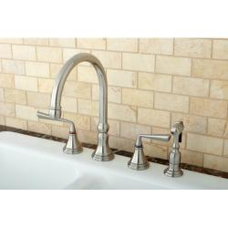 Satin Nickel 4-hole Kitchen Faucet and Brass Sprayer