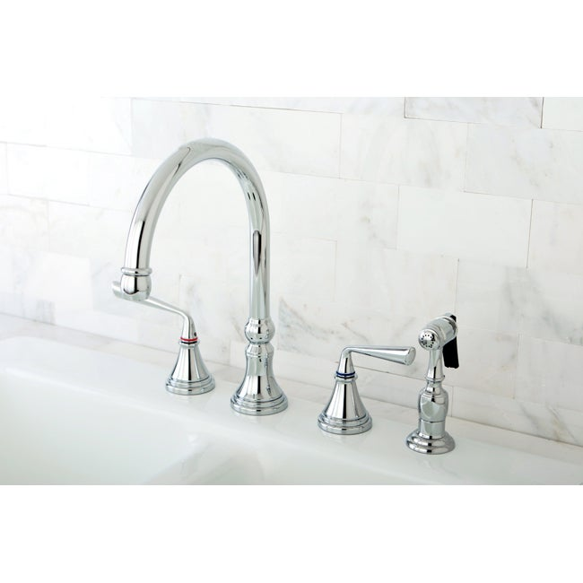 Chrome 4-hole Kitchen Faucet and Brass Sprayer