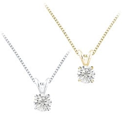 Auriya 14k Gold 1.25ct TDW Round Diamond Solitaire Necklace (F-G, I1)