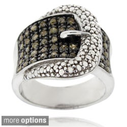 DB Designs Sterling Silver 1/2ct TDW Black or Brown Diamond Buckle Ring