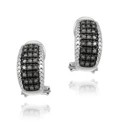 DB Designs Sterling Silver 1/2ct TDW Black Diamond Huggie Earrings