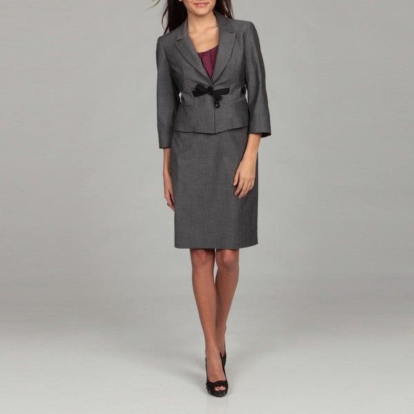nine west s grey belted skirt suit 13980844