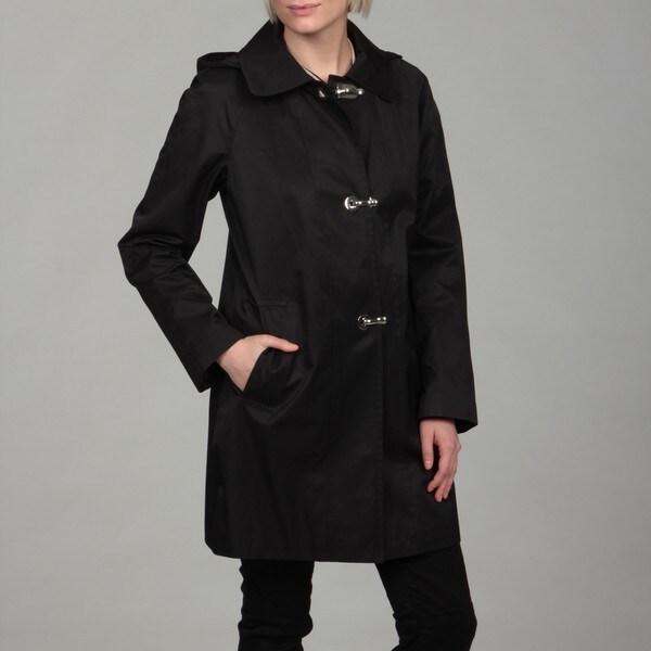 London Fog Women's Black Clip Detail Hooded Coat