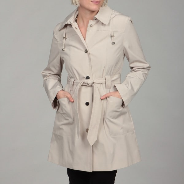 London Fog Women's Putty Snap Front Hooded Coat