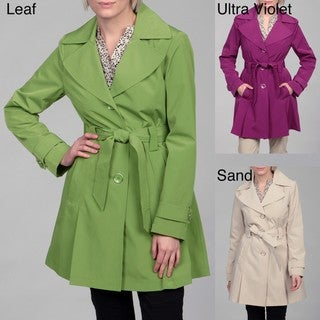London Fog Women's Wing Collar Belted Coat