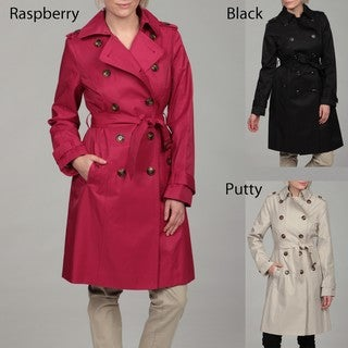 London Fog Women's Double Breasted Belted Trench Coat FINAL SALE