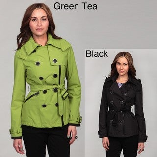 Miss Sixty Women's Double-Breasted Asymmetrical Zip Trench Coat