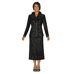 Divine Apparel Women's Black Metalic Jacquard Skirt Suit