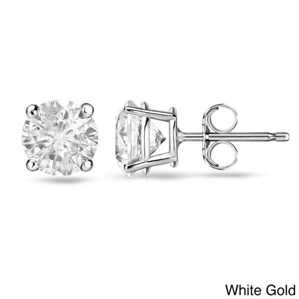 Auriya 14k White or Yellow Gold 1/2ct TDW Round Diamond Stud Earrings (E-F, I1)