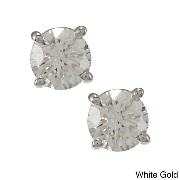 14k Gold 1/2ct TDW Round Diamond Stud Earrings (E-F, VS1-VS2)