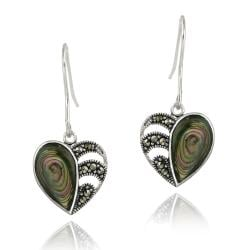 Glitzy Rocks Sterling Silver Marcasite and Abalone Heart Dangle Earrings