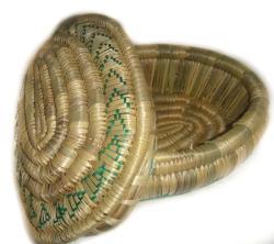 Handcrafted Ethiopian Green Oval Wicker Basket (Ethiopia)