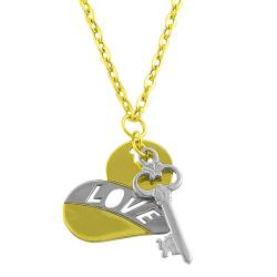 Fremada 14k Two-tone Gold Heart and Key Charm Necklace