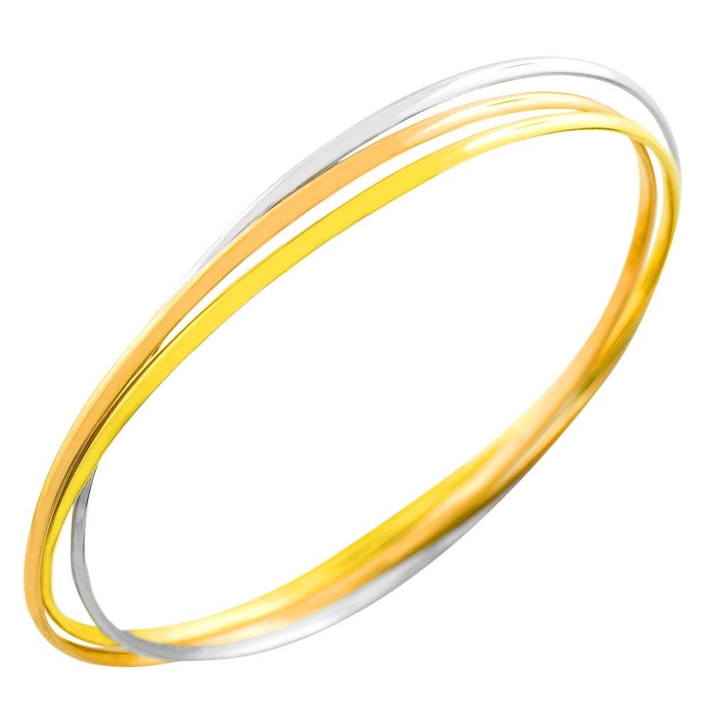 Fremada 14k Tri-color Gold Set of Three Interlocking Bangles