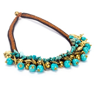 Handmade Turquoise and Brass Beads Necklace (Thailand)