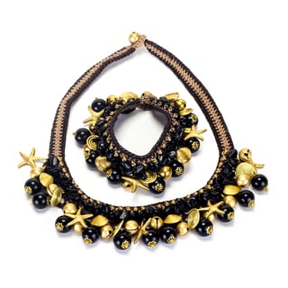 Handmade Onyx and Brass Beads Necklace and Bracelet Set (Thailand)