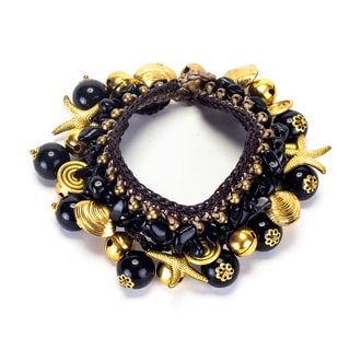 Handmade Onyx and Brass Beads Bracelet (Thailand)