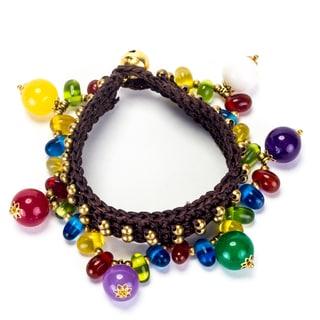 Handmade Multicolored Stones and Brass Beads Bracelet (Thailand)