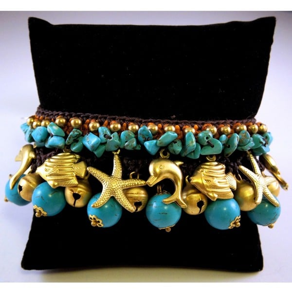 Handmade Turquoise and Brass Beads Bracelet (Thailand)