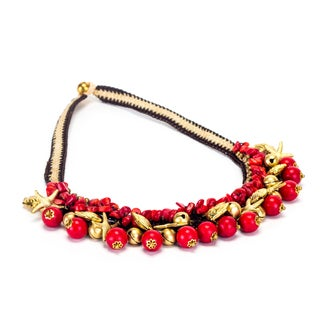 Handmade Red Coral and Brass Beads Necklace (Thailand)